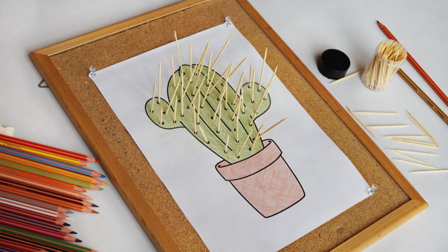 Kaktus zwykałaczek – ćwiczenie motoryki małej ikoordynacji wzrokowo-ruchowej
